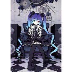 anti the infinite holic (vocaloid) chair clover4th gothic lolita green... ❤ liked on Polyvore featuring anime, vocaloid, drawings and pictures