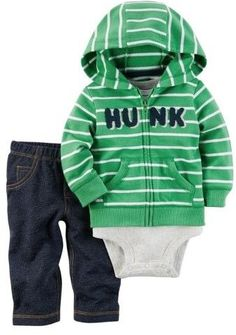 a8b4d30fd Carter's Baby Clothing Outfit Boys 3-Piece Little Jacket Set Hunk Stripe,  Green,