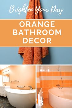 Pretty, bright orange bathroom decor. That's a color you don't see very often, right? Especially not in a bathroom. So you might not think of when planning on redecorating your bathroom, but it really is a cute color!