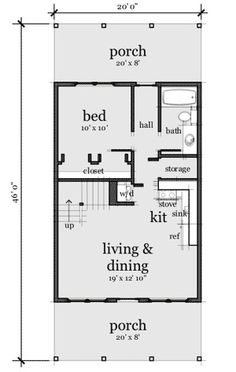 Cute, fits our needs, maybe add a half bath in loft and elimjnate hall for larger room. Good idea per previous pinner. 20x30 House Plans, Cabin House Plans, Cabin Floor Plans, Small House Floor Plans, The Plan, How To Plan, Cottage Plan, Garage Apartments, Tiny House Living
