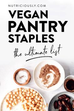 These top vegan staple foods need a place in your plant-based pantry and freezer! Create your personal vegan shopping list with these healthy & cheap. Healthy Meal Prep, Easy Healthy Recipes, Whole Food Recipes, Easy Meals, Vegan Recipes, Vegan Food List, Healthy Food, Free Recipes, Dinner Recipes