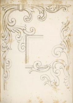 1840 - Arrowsmith, Henry William / The house decorator and painter's guide; containing a series of designs for decorating apartments, suited to the various styles of architecture Motif Arabesque, Ornament Drawing, Drawing Sketches, Drawings, Wood Carving Designs, Architectural Elements, Vintage Prints, Art Decor, Illustration