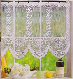 Бесплатные схемы филейного вязания шторы для кухни