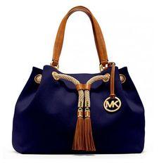 Fashion Michael Kors Camden Drawstring Large Navy Shoulder Bags Online!