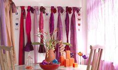Contemporary curtains.  Great colour scheme.