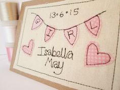 New baby card/ personalised baby card / birth congratulations card / new baby boy card/ new baby girl card Baby Boy Cards Handmade, Baby Girl Cards, New Baby Cards, Fabric Postcards, Fabric Cards, Embroidery Cards, Free Motion Embroidery, Birth Congratulations, Thank You Happy Birthday