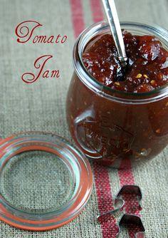 Tomato Jam jar recipe) via Authentic Suburban Gourmet: The Secret Recipe Club Chutney Recipes, Jam Recipes, Canning Recipes, Recipies, Chilli Recipes, Jelly Recipes, Vegan Recipes, Pinwheel Appetizers, Yummy Appetizers
