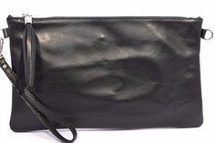 ONLY ONE 1074 NERA Pochette a mano borsa donna piatta vera pelle tracolla Italia
