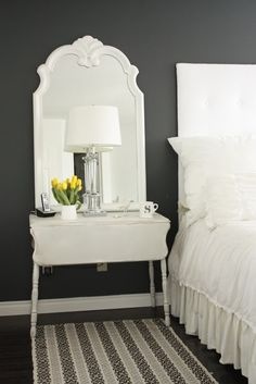 ... Nightstand. I'm having trouble finding ones that are tall enough.  Maybe small drop leaff tables with mirrors mounted above? Interior Color Schemes, Interior Paint Colors, Gray Interior, Interior Walls, Living Room Interior, Interior Painting, Painting Doors, Painting Canvas, Interior Design