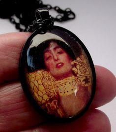 Wearable art. Klimt jewelry. Female image . Art by EvasJewellery, $11.99