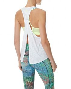 Sunrise Run Tank-- White Tank for Working Out. Criss Cross Opening in the Back.
