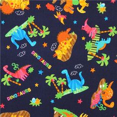 dark blue dinosaur fabric for boys from Japan
