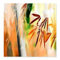 Bamboo Dreams Orange Shower Curtain > Shower Curtains > Tropical Design Studio
