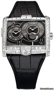 Harry Winston Avenue C Black Dial 18kt White Gold Diamond Black Alligator Mens Watch AVSATZ45WW003 $150,675 #HarryWinston #watch #watches Fixed bezel set with diamonds. Black dial with silver-toned hands and Arabic hour markers.