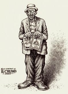 Robert Crumb(1983)Self-portrait holding two classic periodicals that he began.