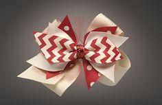 Crimson and Cream Cutie with Sml Ivory Bow $14.50 at Azarhia.com
