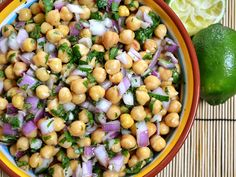 Red onion lime chickpea salad