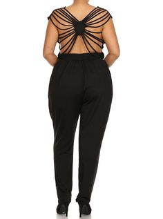 8cdf44d212c0f Plus Size Strappy Open Back Drawcord Jumpsuit