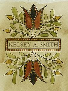 """Bookplate design """"Mirrored Tulips"""" by Kelsey A. Primitive Painting, Primitive Folk Art, Primitive Crafts, Tole Painting, Primitive Stitchery, Primitive Patterns, Primitive Snowmen, Wood Crafts, Folk Art Flowers"""