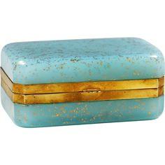 Vintage Italy Murano Ferro blue glass with gold Aventurine trinket jewelry hinged Box