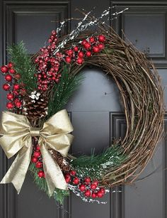 Rustic Christmas wreath with gold bow red berries greenery Christmas Thoughts, Noel Christmas, Homemade Christmas, Rustic Christmas, Christmas Ornaments, Christmas Swags, Primitive Christmas, Artificial Christmas Wreaths, Holiday Wreaths
