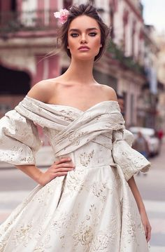 """Stunning Ivory Off Shoulder A-Lane Backless Princess Wedding Dress / Bridal Ball Gown with V-Back Cut, Half Long Sleeves and a Train. Collection """"Havana"""" by Lorenzo Rossi Elegant Wedding Gowns, White Wedding Dresses, Bridal Dresses, Making A Wedding Dress, Plus Size Wedding, Princess Wedding, Pretty Dresses, Marie, Ball Gowns"""