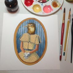 "The Debutante 8"" x 8"" acrylic ink on paper #birdportraits"