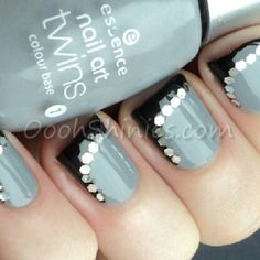 What I like about this is if you mess up painting the tip and side of the nail black, the glitter can cover it up. Black and grey nails