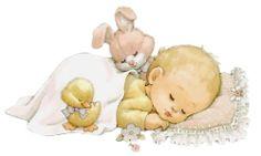Slapende Baby met Konijntje en Eendje