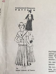 Vintage Jeanne LaFaurie of France Sewing Pattern Pleated Dress Jacket S-213 FF