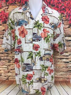 Islands Fine Burgers And Drinks Hawaiian Aloha Shirt Woodie Station Wagons Sz L #Islands #ButtonFront