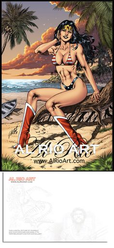 "Al Rio ""Wonder Woman Bikini"" Postcard. $2.00 including shipping in the States. PayPal to terry@alrioart.com 1 will go to PayPal fees and Postage. 1 will go to the family of Al Rio. Write in the subject ""WW Bikini"""