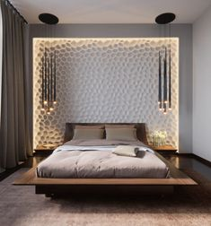 Marvelous Bedroom Design Ideas: Minimalist Bedroom Design, Purple Bedroom Interior Design, Beautiful Bedroom Design And Art Work, Beautiful artistic wall. Bedroom Interior Design Ideas around the world. Home improvements tips. Home Sweet Home Design UK Modern Bedroom, Home Bedroom, Bedroom Interior, Bedroom Design, Bed Design, Interior Design Bedroom, Bedroom Decor, House Interior, Bedroom Lighting Design