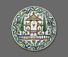 Classification Ceramic, Mosaic  Object name Dish With A Representation Of A Garden  Geography Turkey  Period Ottoman, circa 1575-8...
