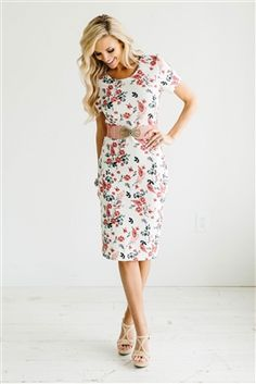 Coral Floral Modest Dress by Mikarose, Vintage Dress, Church Dresses, dresses for church, modest bridesmaids dresses, trendy modest, modest skirt, modest shirts, cute modest dresses, modest church dresses, mikarose, trendy boutique