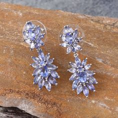 Tanzanite Platinum Over Sterling Silver Earrings TGW 5.92 Cts.