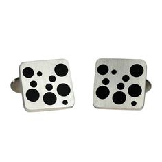 """GEORG JENSEN Sterling Silver and Black Enamel Cufflinks No. 93  