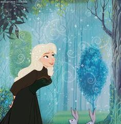 Fan art of Queen Elsa as Sleeping beauty movie style, love it ! #Frozen