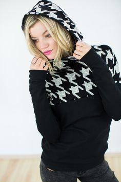 Hoodies - Hoodie To go in schwarz Hahnentritt - ein Designerstück von Shoko bei DaWanda