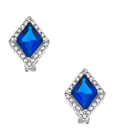 Silver Clear and Sapphire CZ Diamond Shaped Earrings