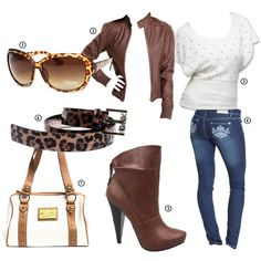 Earthbound browns! Get the look!  1. Leopard Sunglasses by XOXO  2. Leather Jacket by Vanity  3. Diamante Angora Pullover by Baby Phat  4. Basic Skinny Jeans  5. Maquis Ankle Booties by Toi et Moi  6. Leopard Belt by XOXO  7. Embossed Patent Leather Satchel by Apple Bottoms
