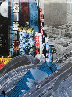 Collage  »Die Großstadt in den ersten Zweitausendern« 20 x 30 cm   Source: Ausdruck Fotocollage »Tokio/simonex 2008« auf Leinwand, 3D Folie, Süddeutsche Zeitung Nr.112 2015, Lürzer's Archiv Nr. 3/11 Medium: Zeichenkarton