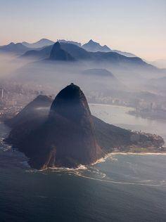 Sugar Cane and Corcovado - Rio de Janeiro from the sky, Brazil