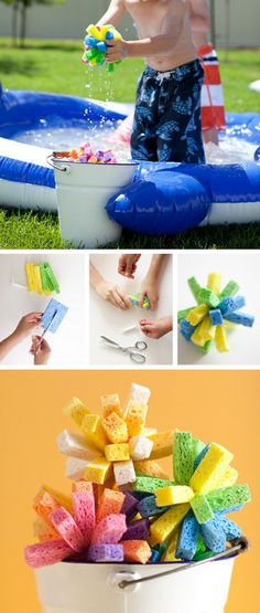 Sponge water bombs. Nothing beats the heat like the Water Fight, and these Sponge Bombs are sure to get everyone good and wet! The sponges are easy to make. What you need are sponges, scissors, and fishing line.
