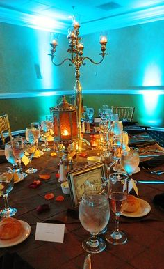 Gorgeous up-lighting really enhances this amazing Moroccan theme at Grand Marquis.