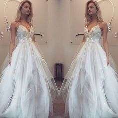 WD17 V-Neck Lace Sleeveless Wedding Dresses,Long Wedding Dress Custom Made Wedding Gown,