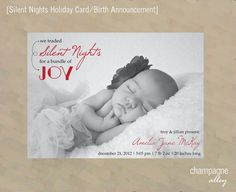 Digital Holiday Photo Card and Birth Announcement (Silent Nights) by Champagne Alley Design