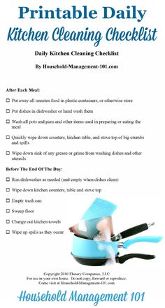 Free printable daily kitchen cleaning checklist e958df794