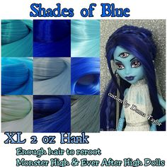 4e68d2057e30 XL 2 oz Shades of Blue Nylon Doll Reroot Hair Hank Monster High Ever After  High