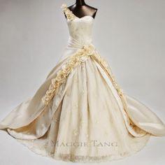 Maggie Tang Vintage Ball Gown Duchess Bride Wedding Dress Custom Made SZ34-42